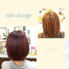 ハイライトを入れてオンカラーをしてツヤ感のある赤髪にしました(*^_^*) Neolive ora所属・宇野芙美香のスタイル