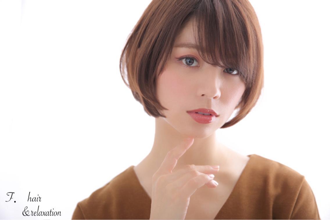 #ショート #カラー #その他 小顔効果抜群ひし形ショートボブ☆