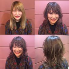 たっぷりレイヤーを入れたミディアムスタイルです(^_^)パープルピンクでお洒落カラーに LUAU所属・今中智子のスタイル