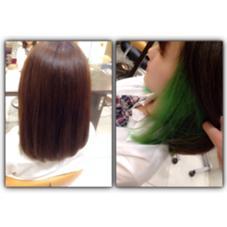 グレージュカラー☻ インナーカラーでグリーンを入れました(^o^) Aria所属・エンドウアキのスタイル