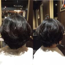 カット+カラー 肩下のロブをばっさりショートに☆ トップに動きを出して家での再現性もgood!! hair&make trois所属・中村直のスタイル
