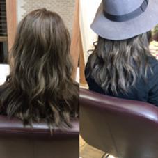 ダークアッシュカラー×バイオレット×ローライト  秋冬にピッタリな落ち着いたアッシュです。 左が室内、右が外出をイメージした写真です。 grandage 船橋店所属・RyotaSugimotoのスタイル