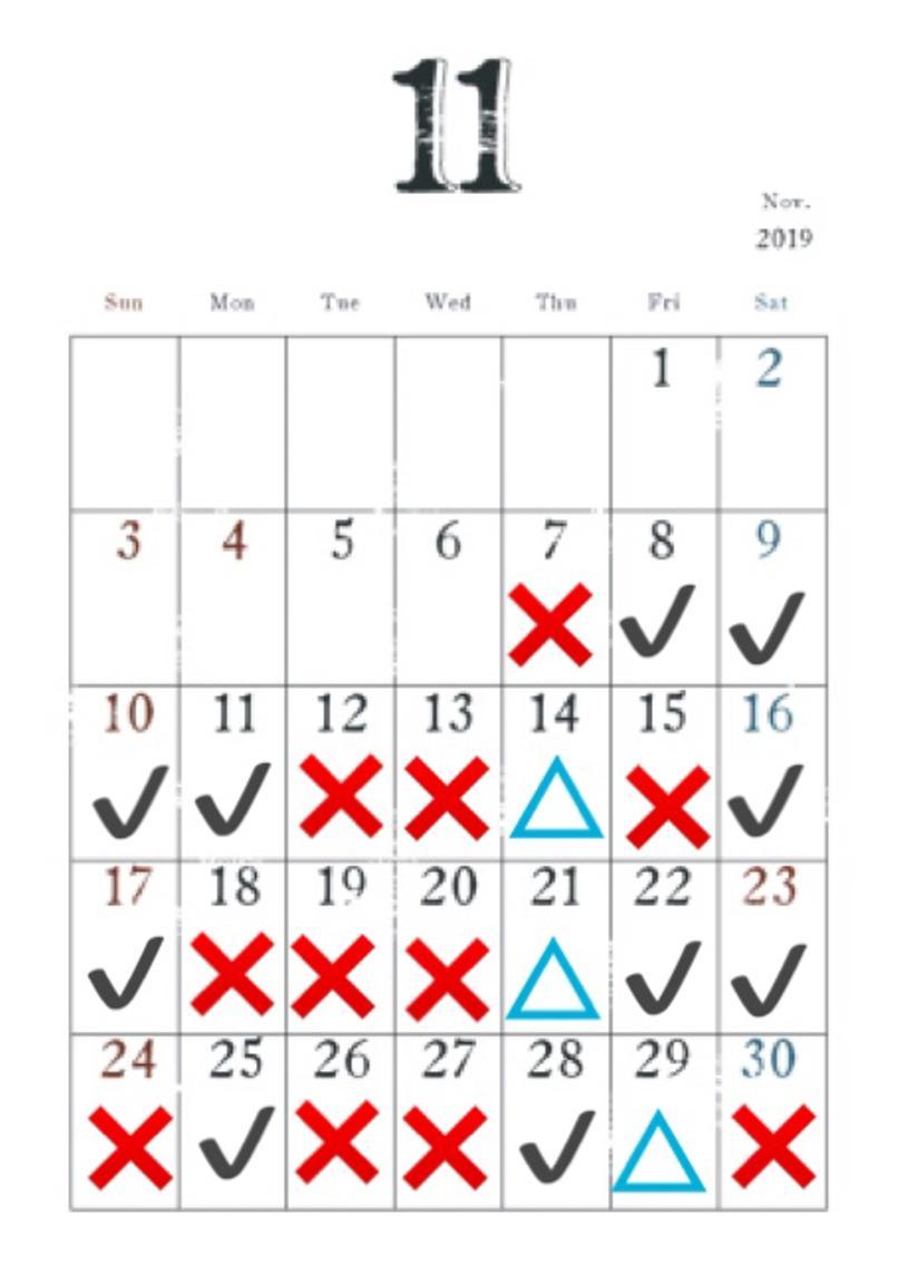 #セミロング #カラー #ヘアアレンジ 📆 11月のカレンダー (予約表) 📆  ✔がご予約可能の日にち ❌が既に埋まってしまってる日にち  △ がどうしてもこの日が良い という方への日にち  🏝時間 19時 30 〜 🏝メニュー    白髪染め (根元だけ)     ¥1000                         白髪染め (毛先まで)     ¥2000                         ワンカラー(トリートメント付き)  ¥2000              ブリーチ&カラー(トリートメント付き)  ¥4000                                           縮毛矯正       ¥4000