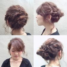 三つ編みとねじり編みのまとめ髪になります☆ ほどよい崩しがポイントです(^o^)  引き出すところと抑えるところをしっかり見極めると、よりバランスが良くまとまります☆ merry所属・白川めぐみのスタイル