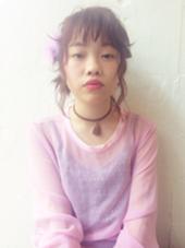 ミディアムヘアでも、ゆるふわアレンジできます♡カラーはピンクブラウン☆treatmentケアもしてます!  kenje所属・kazuco♡のスタイル