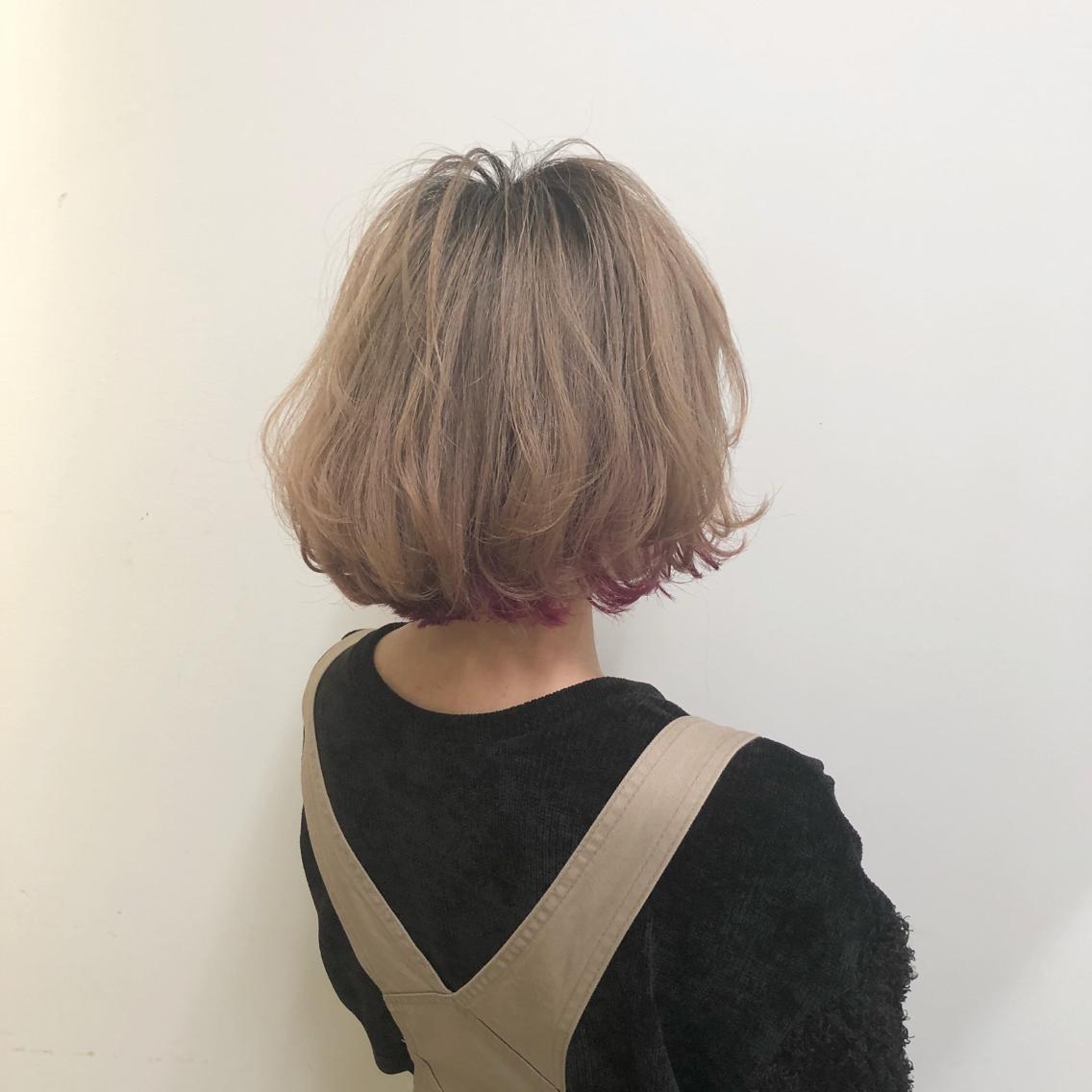 #ショート #カラー #パーマ #ヘアアレンジ 【ガーリーボブ×インナーカラー】  Instagramにもヘアスタイル載せてますので是非♪♪  Instagram→yuuki_matsui_