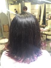 切りっぱなしボブ(^^)  前回のグラデーションカラーを毛先だけ残して外ハネしたらオシャレ感UP\(^o^)/ あおいちゃんのスタイル