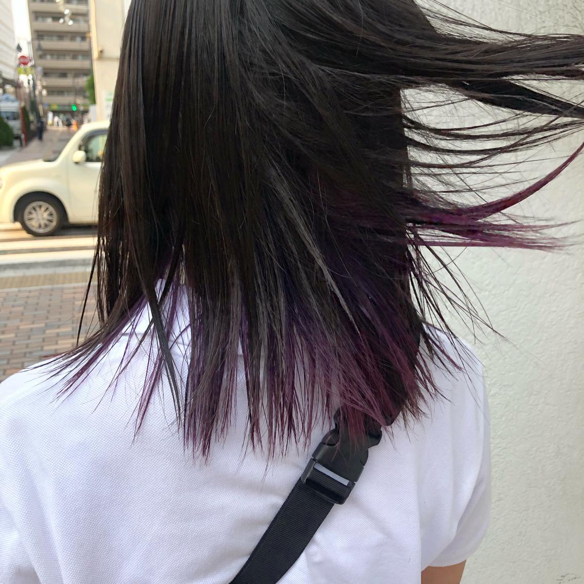 #ミディアム #カラー #ヘアアレンジ ナチュラルにバレにくい紫color👾💜 派手にしたいけどそこまで派手は嫌! そんなワガママ叶えます✨