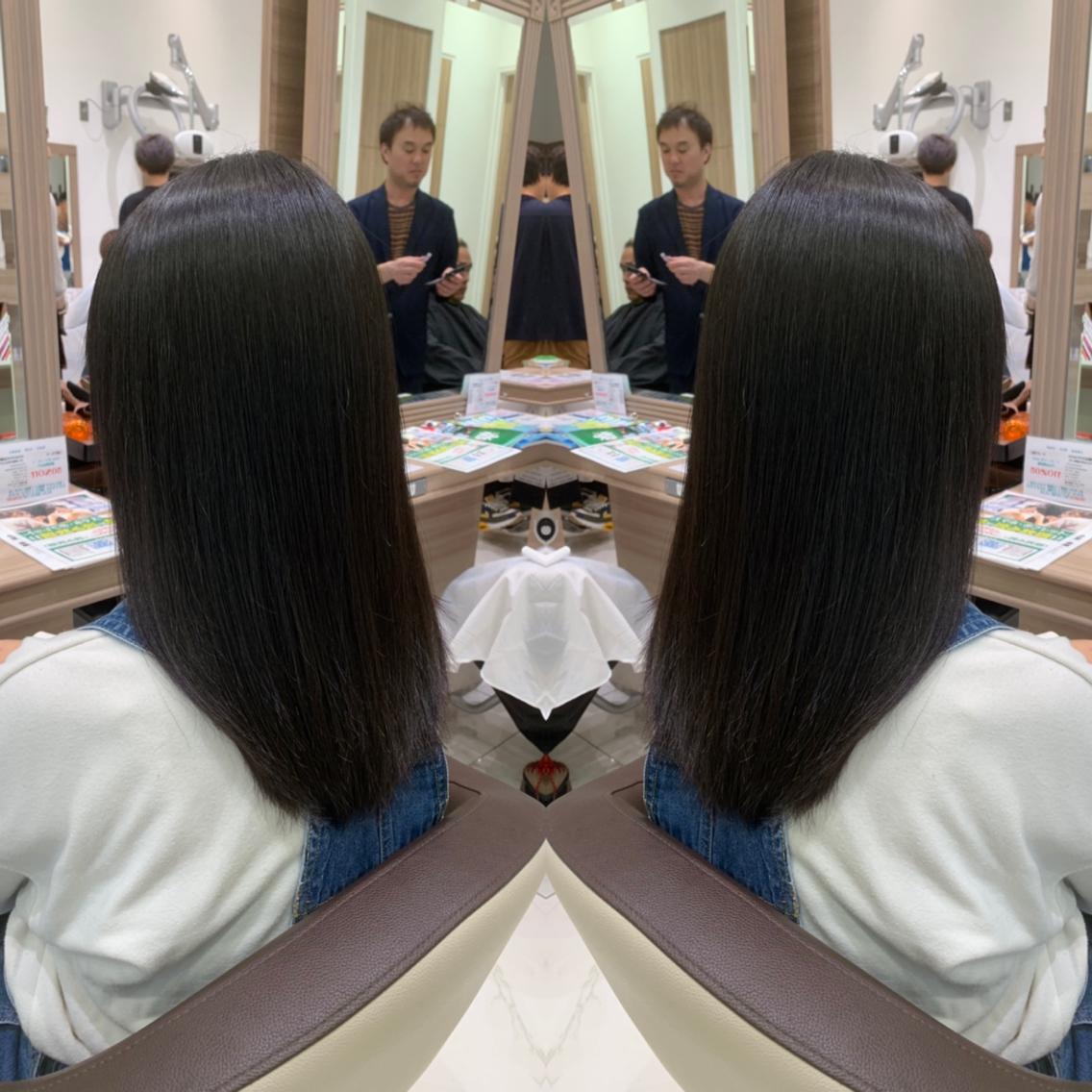 #ミディアム #パーマ 梅雨前にした縮毛矯正…そろそろ伸びてきてませんか👀⁉️綺麗にかけ直してサラツヤな髪へ💇♀️✨