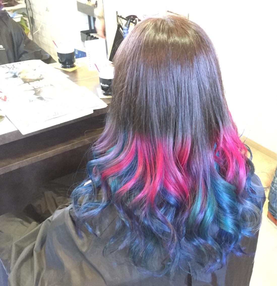マニパニ4色 紫 ピンク 青 水色 によるインナーカラー