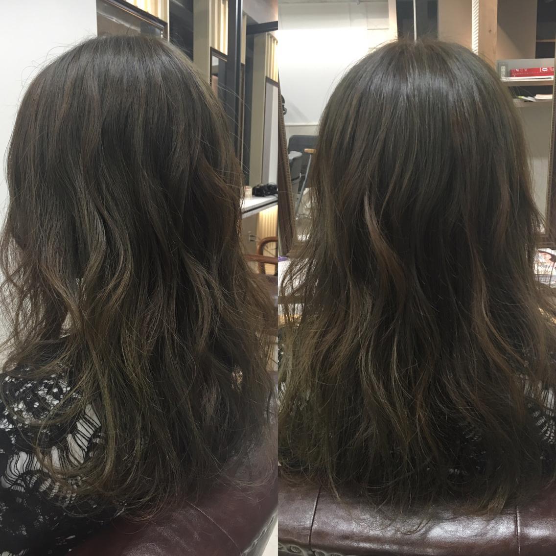 #セミロング #カラー 少し暗めのオリーブグレージュ  染める前の髪色が明るければ透明感だせますよー!