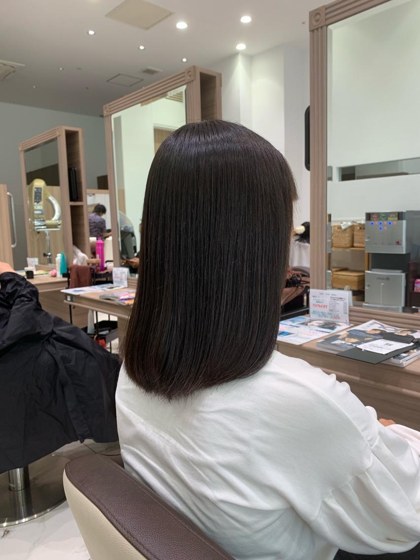 #ミディアム #パーマ 台風に負けない髪へ…縮毛矯正でサラツヤな髪💇♀️✨