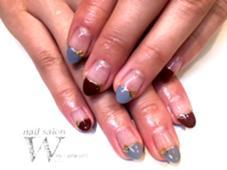 ボルドー×グレーのまっすぐフレンチ♪ 大人っぽくお上品なネイルです(*^^*) 【nail salon W】by CaraCore所属・松崎紗也のフォト