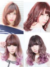 カラー セミロング パーマ ロング ピンクカラースタイル