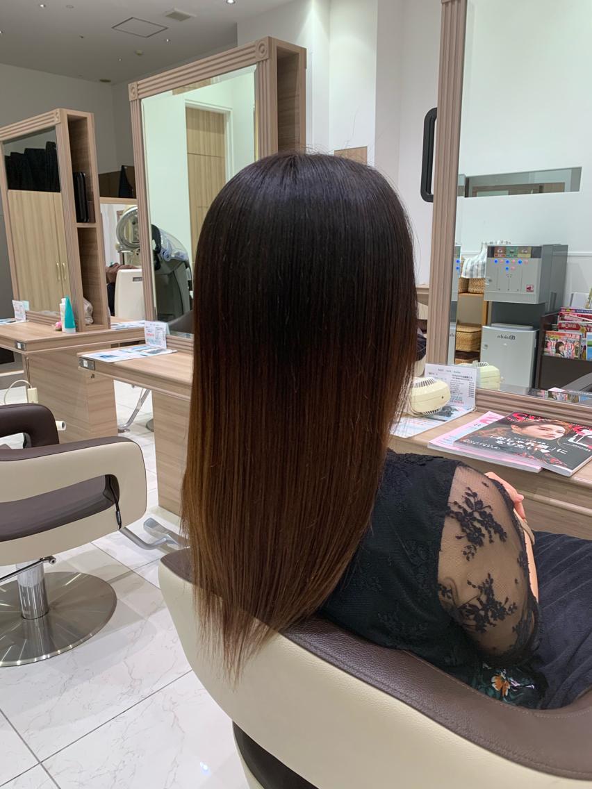 #セミロング #パーマ 乾かすだけでまとまる…縮毛矯正でサラツヤな髪💇♀️✨