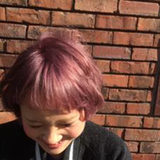 [特殊カラー] この方の強い髪質のおかげで3回ほど全体ブリーチした後にラベンダーカラーを乗せて綺麗な透明感ある色味がだせました☺︎  LUCK所属・佐々木翼のスタイル