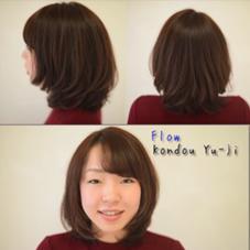 ミディアムスタイル&イルミナカラー! 前上がりのスタイル☆ 最新のイルミナカラーで透明感のあるツヤ髪になります! 美容室Flow所属・近藤優次のスタイル