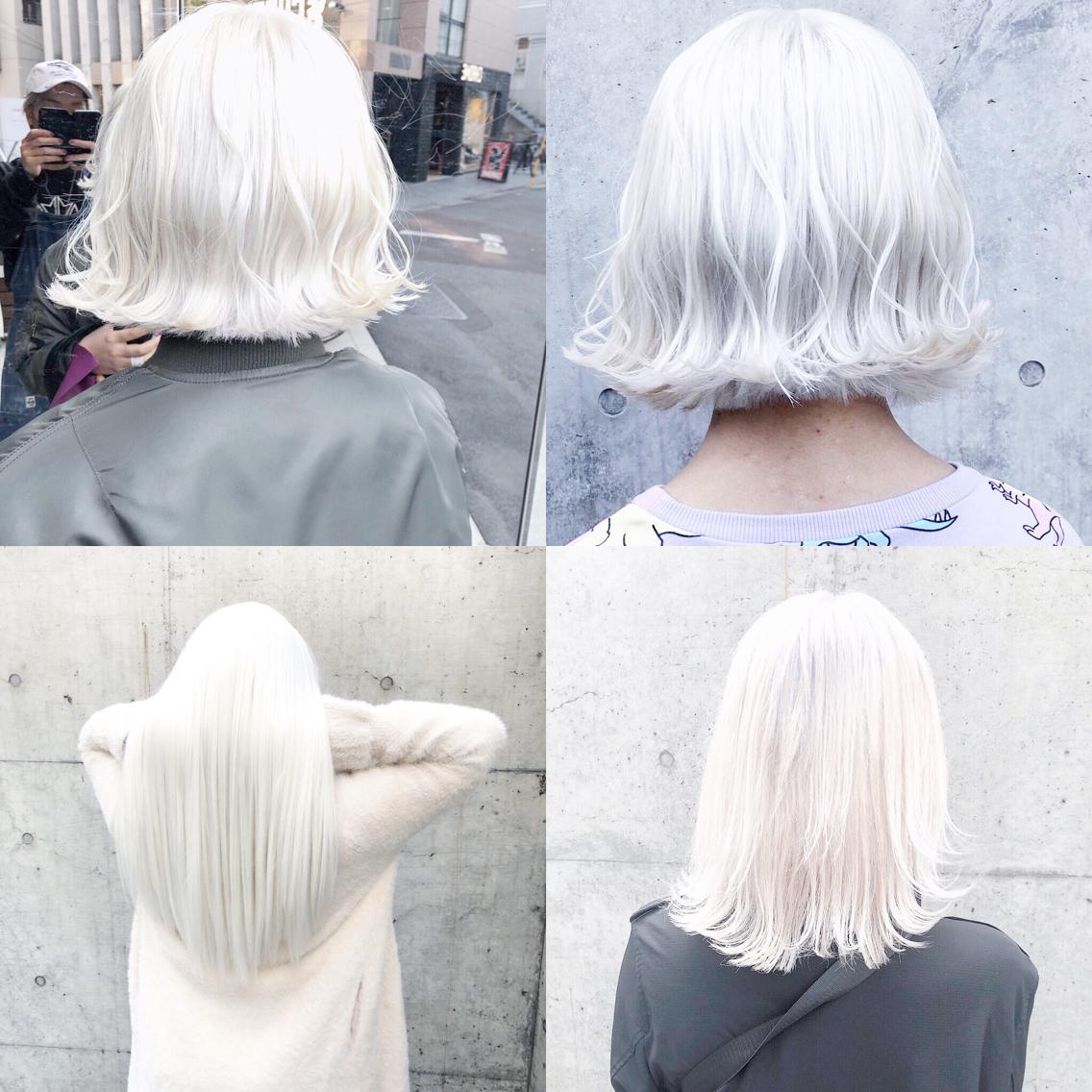 #カラー ホワイトまとめ🇰🇷   ・perfect White・ ✳︎10800円〜✳︎ ✳︎minaでブリーチ3〜5回出来れば綺麗なホワイトヘアを作れます👻 ✳︎ ✳︎ダメージが強いとブリーチが出来ない場合もあるのでご了承ください ✳︎ムラシャンはエンシェールズのシャンプーを薄めて使うのがオススメ🧖🏻♀️ ✳︎ ✳︎黒染めや縮毛、デジパをしていなくてダメージがひどくなければおおよそ4〜5回ブリーチで出来ます🦄✳︎ 最後まで可愛く仕上げます🇰🇷 ✳︎ お店の近くにあるティファニーカフェで映えな写真もプレゼントします🦄 ✳︎ ✳︎黒染め履歴、ダメージが強い方はでホワイトにはならないです💦  #原宿#ハイトーンカラー#シルバーカラー#ヘアカラー#ネイビーカラー#ホワイトカラー#ブロンドヘアー#アッシュ#ケアブリーチ#ブロンドカラー#派手髪#ラベンダーカラー#ミルクティーカラー#アッシュ#ミルクティーベージュ#ブルージュ#グレージュ#ピンクカラー#インナーカラー#ハイライトカラー#グラデーションカラー#bts#seventeen#twice ✳︎ ✳︎ ✳︎