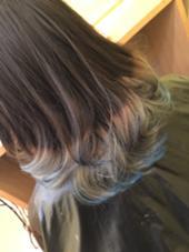 ブリーチ メッシュ 毛先をブルーにカラーリンク LeLe所属・LeLe hairみさきのスタイル