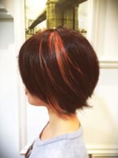 一本メッシュ!髪の毛が動くたびに違う表情が表れます! 夕陽のような優しいオレンジをブリーチ部分にon! I's New York Villa所属・中農(なかのう)祥充(よしみつ)のスタイル