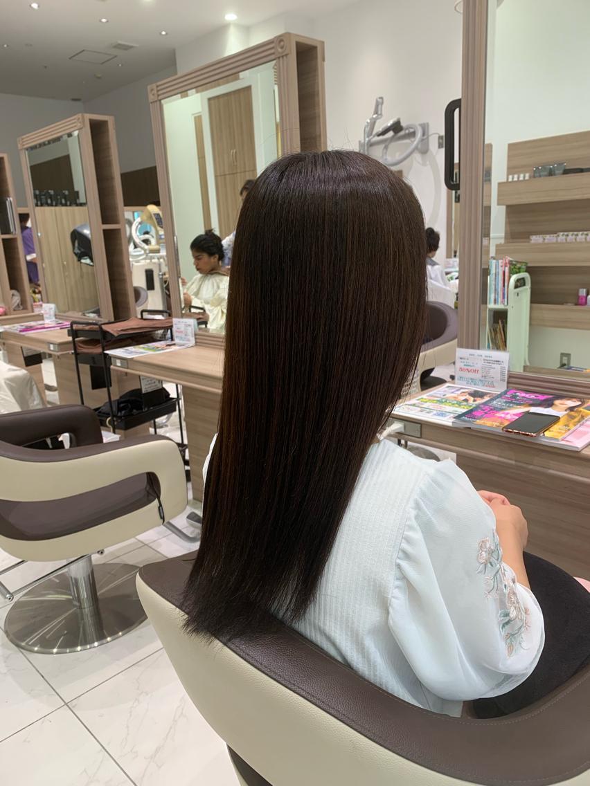 #セミロング #パーマ プレミアム縮毛矯正で全体サラツヤな髪へ💇♀️✨