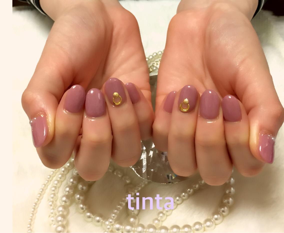 ネイル くすみピンクのワンカラー♡