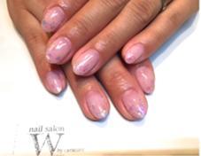 シンプルネイル♪ ベージュピンク×ホロでグラデーション(*^^*) 【nail salon W】by CaraCore所属・松崎紗也のフォト