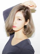 ミディアム  透明感グレージュカラー☆重ためワンレンボブ