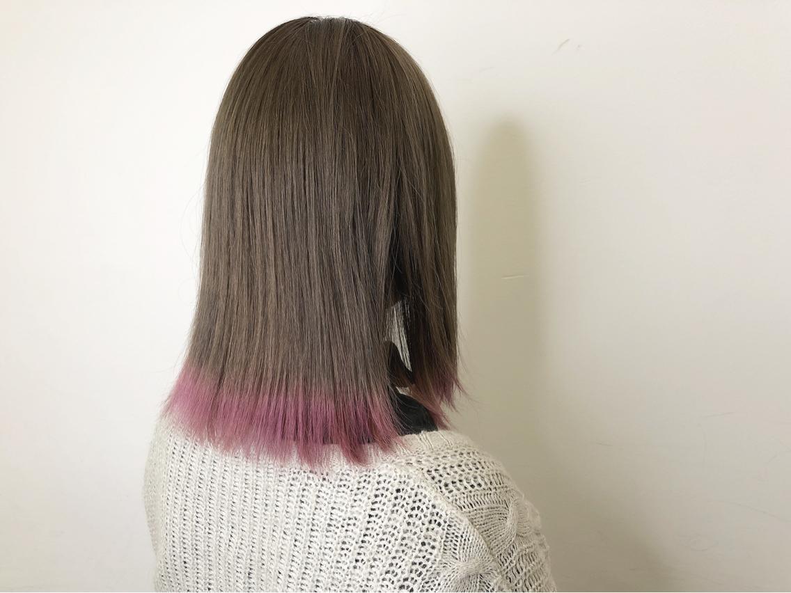 #ミディアム #カラー 柔らかいベージュカラーにパールピンクの裾カラー☆彡.。