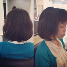 ポブスタイルも内巻きだけでなく、動きのあるウェーブスタイルで可愛くしあげました☆ hair & relaxation despacio所属・井之上恵理のスタイル