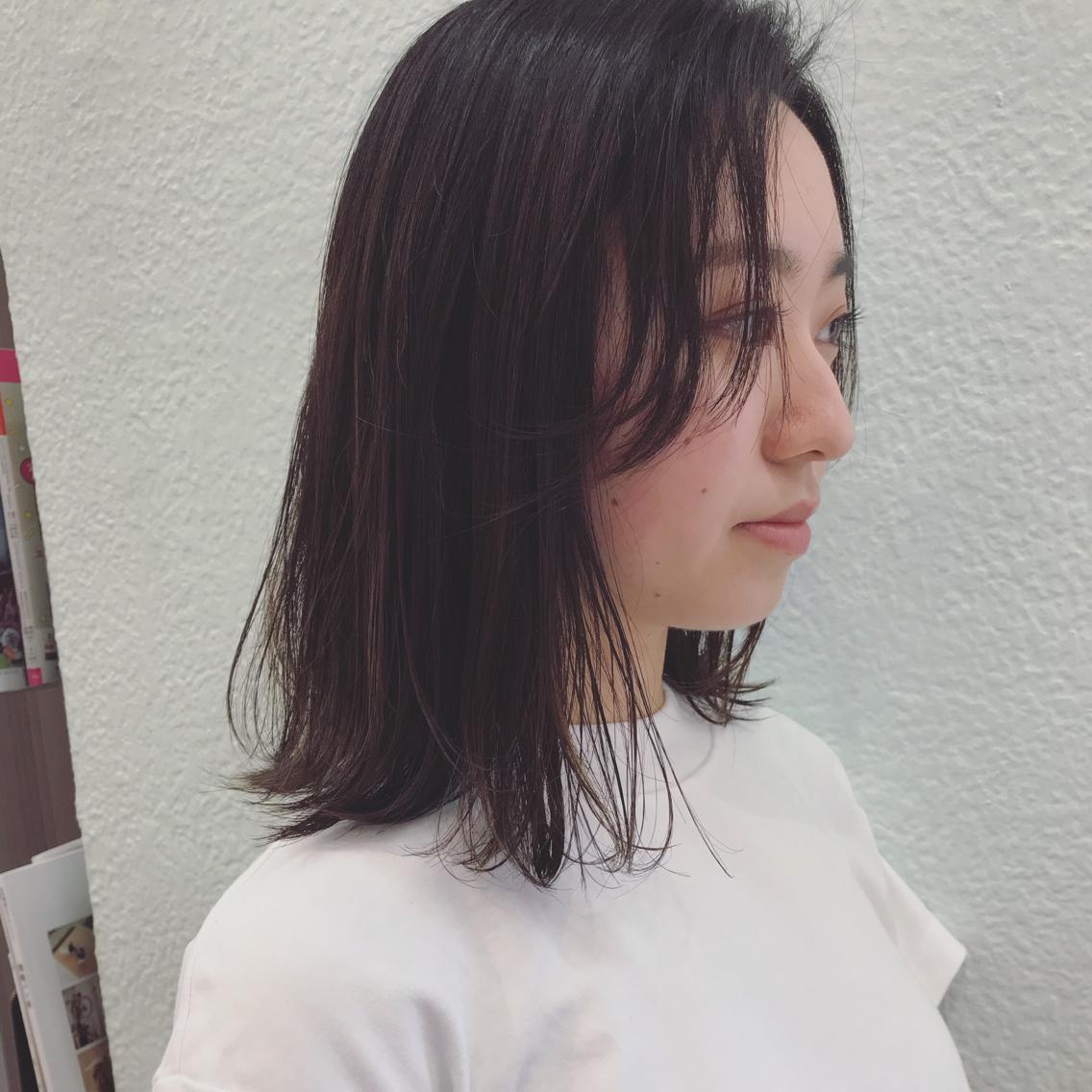 #ミディアム バッサリ前髪をつくらせていただいたモデルさん ❤︎透けるような前髪 ❤︎ 前髪どうしようかお悩みの方一度ご相談ください❤︎