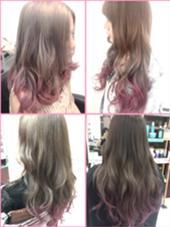 カラー ショート セミロング ミディアム ロング 毛先にピンクのグラデーションカラー