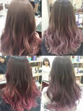 カラー セミロング ミディアム ロング 毛先に薄いピンクのグラデーションカラー