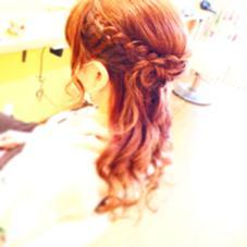 ハーフアップ フェミニン 編み込みアレンジ LeLe hairみさきのスタイル
