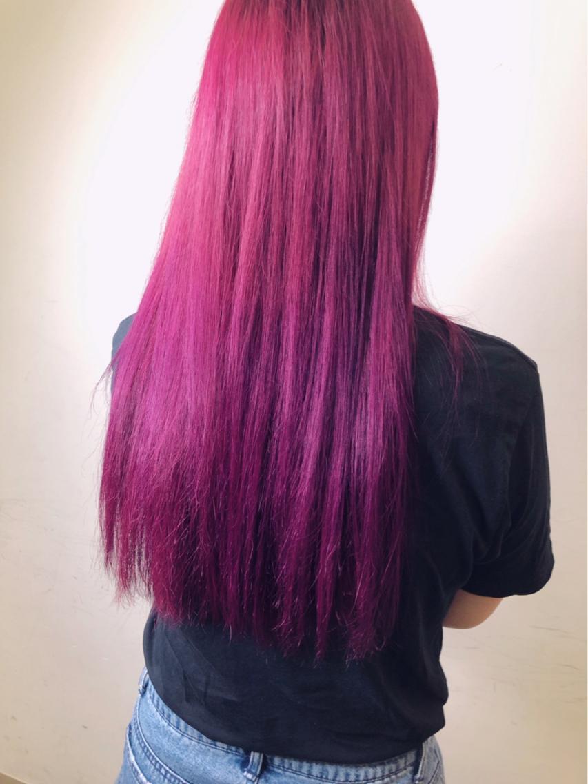 #ロング #カラー ピンクパープル^^*💕 塩基性カラーでつくるビビットなカラー +3000円