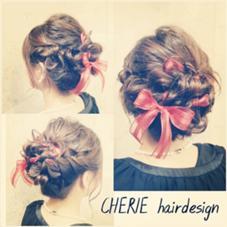 リボンを巻き込んで緩めのアップスタイルに仕上げました CHERIE hair design所属・NMAYAのフォト