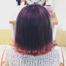 裾カラー パープルからの毛先ピンク 稲田杏奈のスタイル