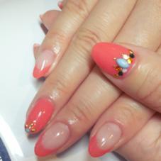 サーモンピンクのフレンチ Ak nail所属・富岡明子のフォト