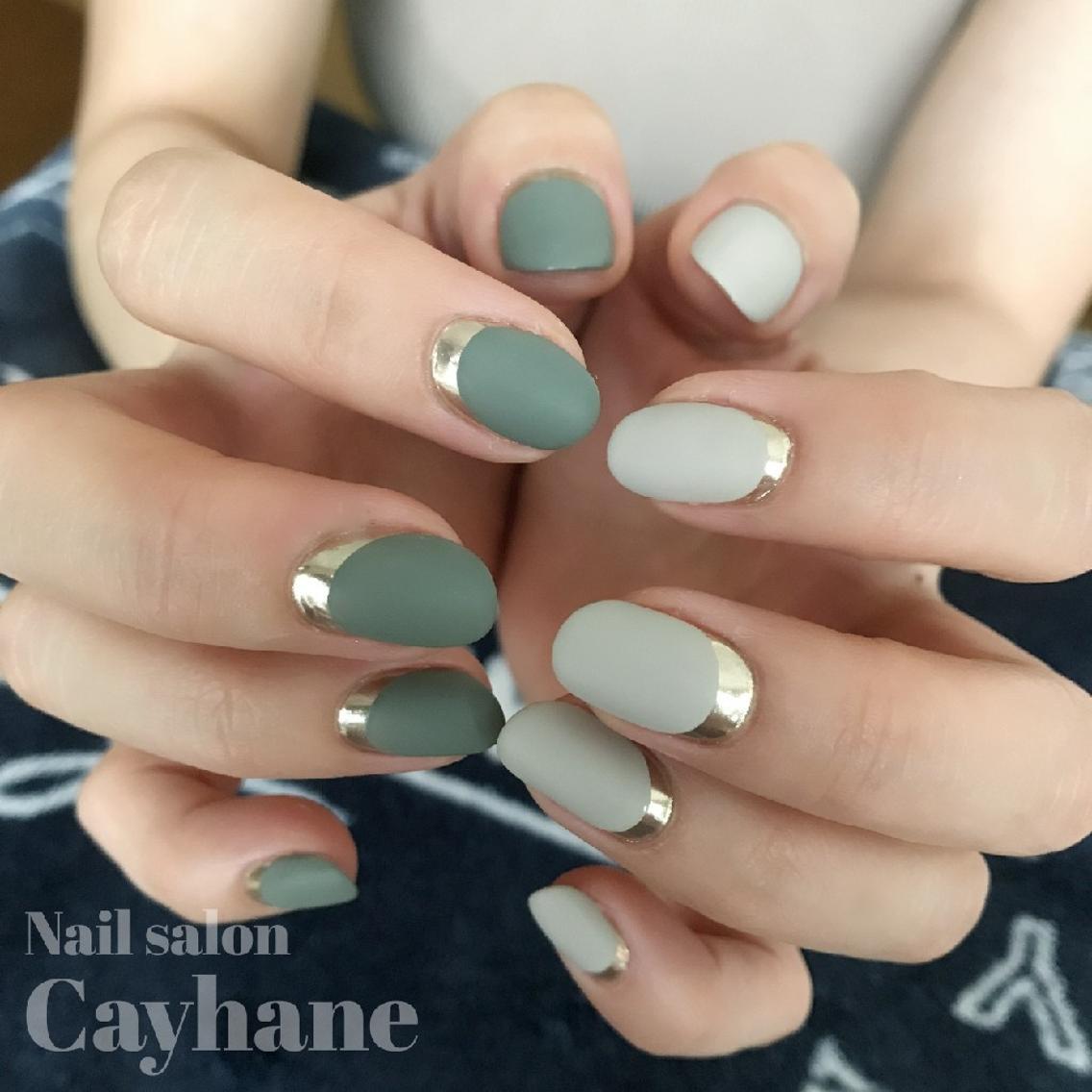ハーフミラー&マット加工でオシャレに♡ Nail salon Cayhane