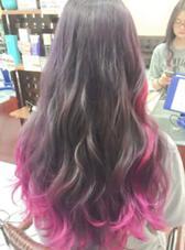 カラー セミロング ロング バイオレットアッシュグレーとピンクのハイライト&毛先カラー