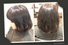 ボブスタイルのパーマ!! 巻き髪風のゆるふわ感。 ex-fa  hair garden所属・澤田彩香のスタイル