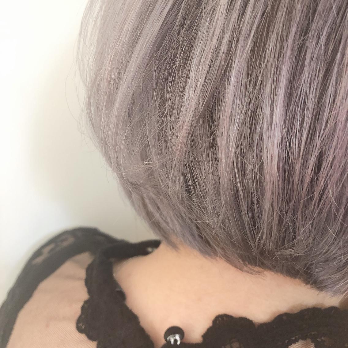 #ショート #カラー Color 《 Pearl Grayge 》 パールグレージュ、ほんのりパープルが入ったグレーです。