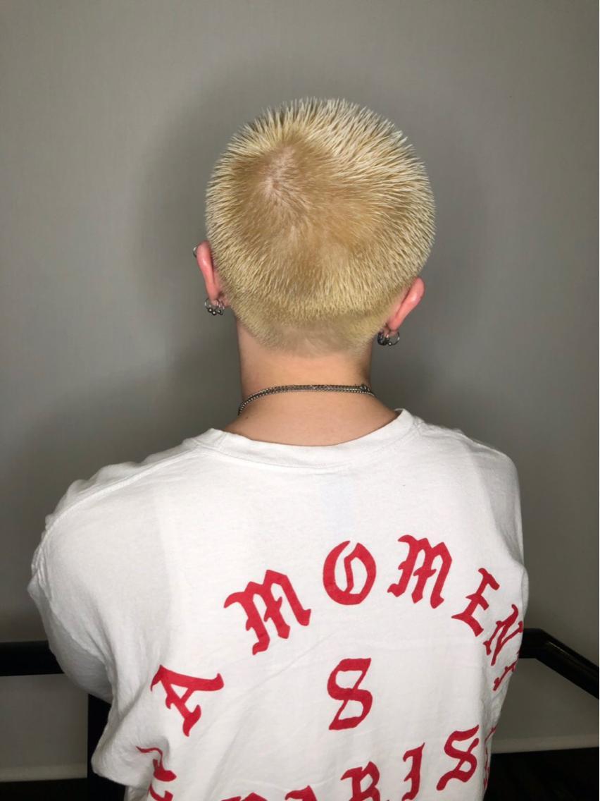 #ショート #カラー #メンズ 短髪ハイトーン!