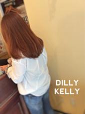 毛先まで綺麗な発色のTHROWカラー そこにポイントカラーも入れて巻いた時もストレートの時も表情が見える仕上がりにしています!! DILLY KELLY所属・奈良幸男のスタイル