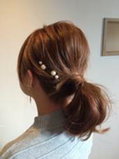 シンプルアレンジ  パールをつけてひと工夫! 自分でも簡単にできますよっ U.hair石川橋店所属・AmanoYukaのスタイル