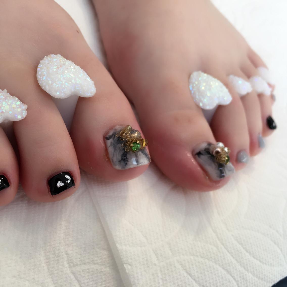 シンプルネイル #大理石ネイル #フットネイル sunshine nail所属 ...