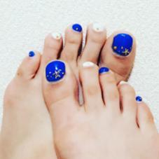 #my nail#blue#gold#white#footnail 長谷川舞のフォト