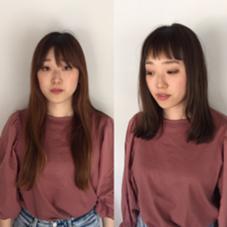 ミディアム ハイライト  オン眉バング Halno所属・近藤正輝のスタイル