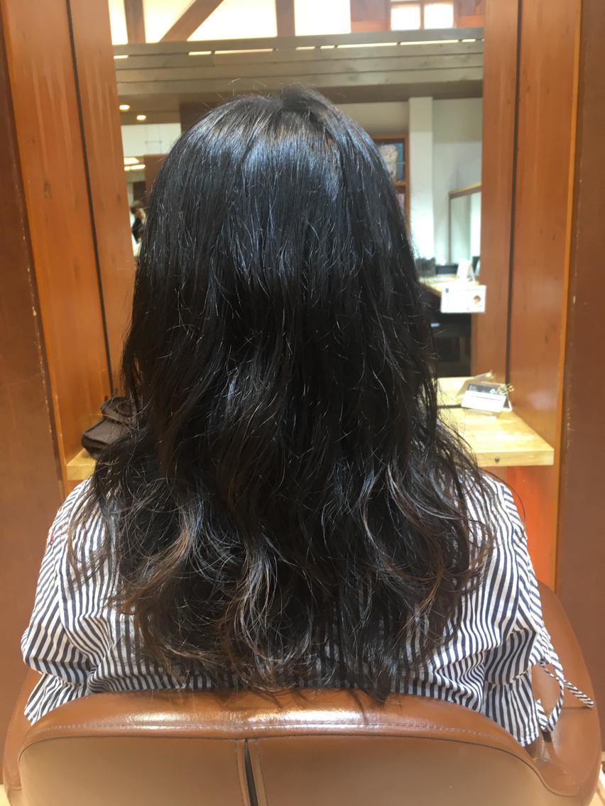 #セミロング #パーマ . ふわふわの巻き髪風パーマパーマ , .