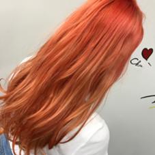 【ピンクオレンジ】 ブリーチ後ピンクオレンジでカラーリング カラー専門店CYNDY   color salon 【渋谷】所属・相原慎のスタイル